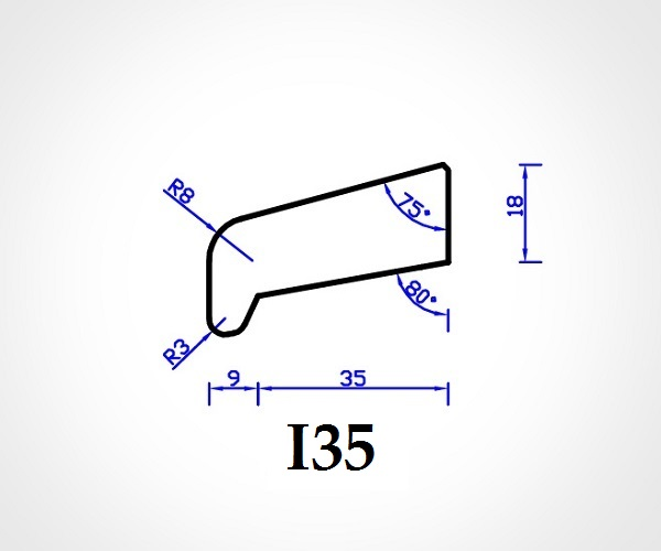 Meranti Glaslat neusmodel I35