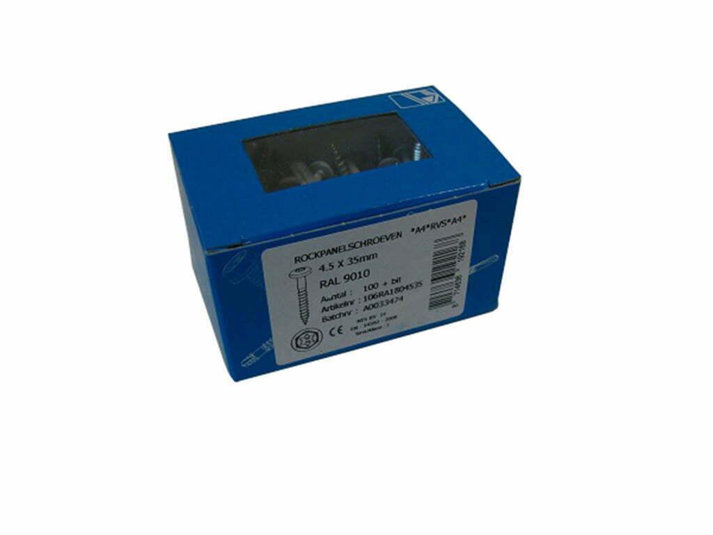 Rockpanelschroef RVS 4.5x35mm Ral 9001 creme wit