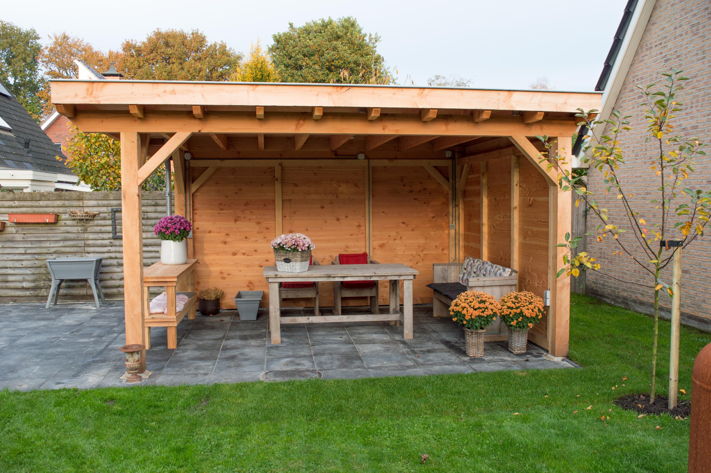 Overkapping met plat dak douglas hout - Opslag terras ...