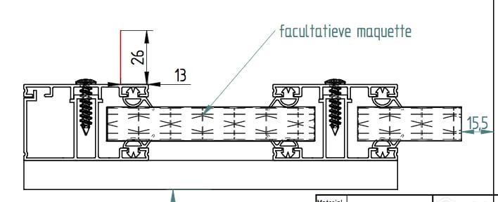 Dwarsdoorsnee Polycarbonaat platen bevestiging