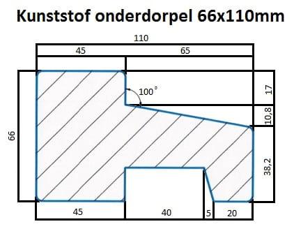 Kunststof onderdorpel 66x110mm