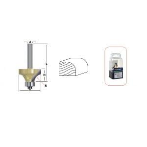 ROTEC HM Afrondprofielfrees S=8,0 D=25,4 R=6,35 m g.lager